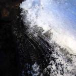 Water, ice interface. Jan 2013 Motor Mill Hist. Park, Turkey River, IA