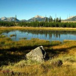 pond, rock, Mtns. Yellowstone NP, WY. Aug. 2012