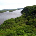 view S. from Hanging Rock, Effigy Mounds, IA. May 2012